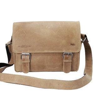 Leren messenger bag taupe - Arrigo