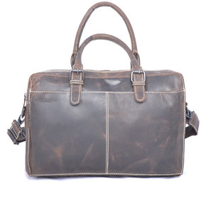 Messenger bag van donkerbruin buffelleer - Arrigo