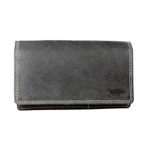 Zwarte buffelleren portemonnee, groot model